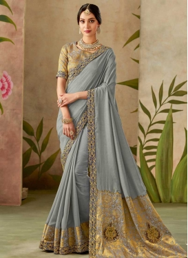Beads Work Silk Trendy Saree