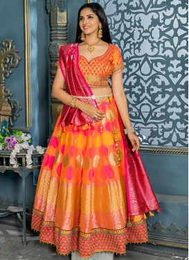 Beads Work Trendy A Line Lehenga Choli For Festival