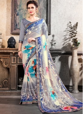 Beckoning Brasso Multi Colour Printed Saree