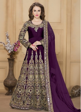 Beckoning Tafeta Silk Embroidered Work Trendy Anarkali Salwar Kameez