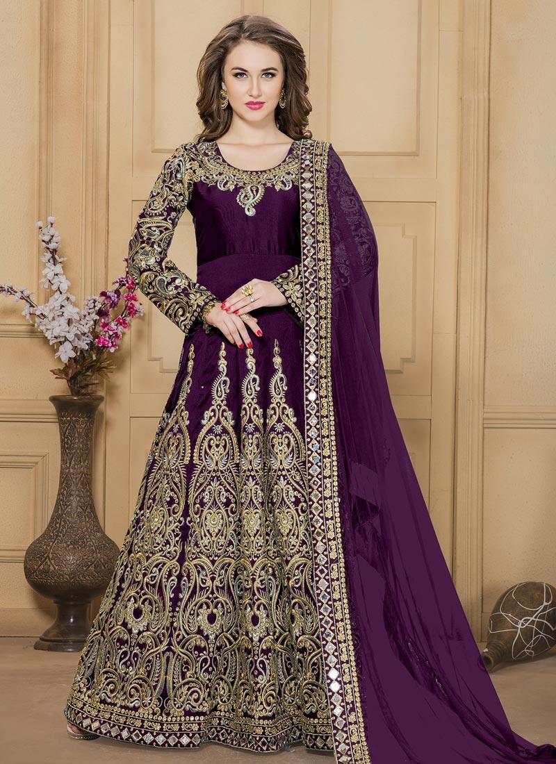 Beckoning Tafeta Silk Embroidered Work Trendy Anarkali Salwar Kameez