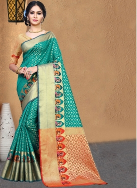 Bedazzling Weaving Teal Art Silk Casual Saree