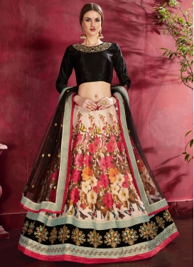 Beige and Black A - Line Lehenga