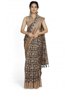 Beige and Black Cotton Silk Designer Traditional Saree
