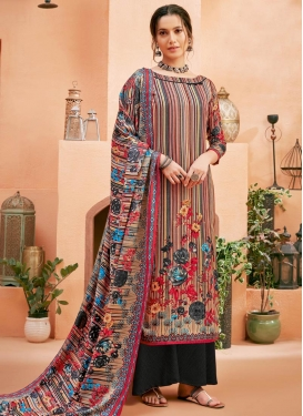 Beige and Black Palazzo Style Pakistani Salwar Suit For Festival