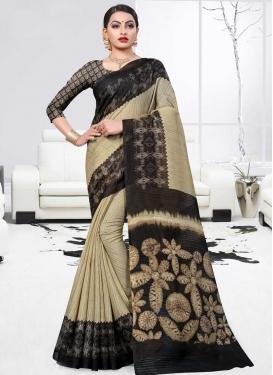 Beige and Black Print Work Traditional Designer Saree