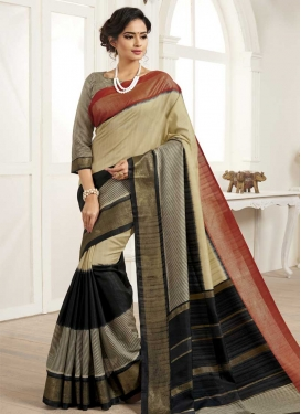Beige and Black Trendy Classic Saree
