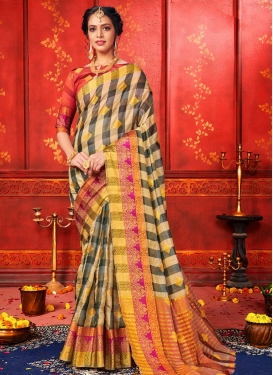 Beige and Black Woven Work Traditional Designer Saree