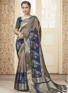 Beige and Blue Banarasi Silk Contemporary Style Saree