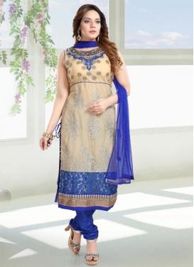 Beige and Blue Net Readymade Churidar Salwar Kameez