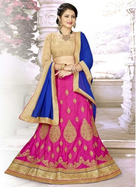 Beige and Blue Satin Silk A - Line Lehenga