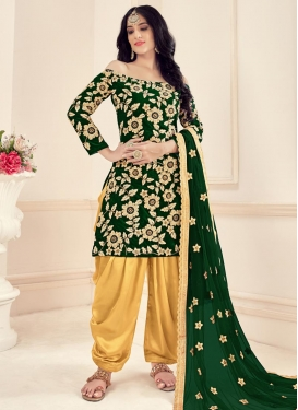 Beige and Bottle Green Beads Work Trendy Patiala Salwar Kameez