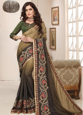 Beige and Brown Beads Work Trendy Classic Saree