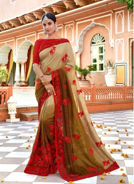 Beige and Brown Ceremonial Art Silk Shaded Saree
