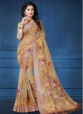 Beige and Brown Contemporary Saree