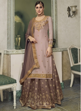 Beige and Brown Designer Kameez Style Lehenga Choli