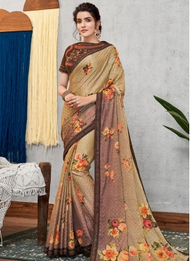 Beige and Brown Digital Print Work Designer Contemporary Saree