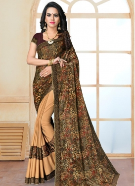 Beige and Brown Digital Print Work Half N Half Designer Saree