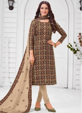 Beige and Brown Lace Work Trendy Churidar Salwar Suit