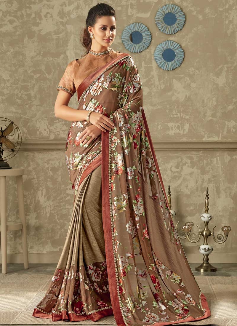 Beige and Brown Lycra Classic Saree