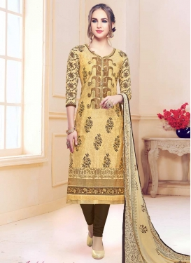 Beige and Brown Pakistani Straight Salwar Suit