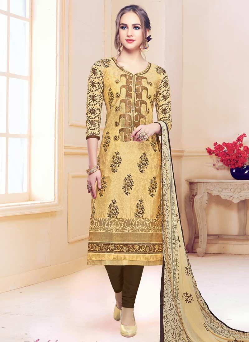 Beige and Brown Pakistani Straight Salwar Suit