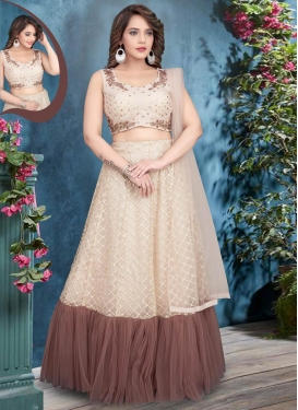 Beige and Brown Readymade Lehenga Choli