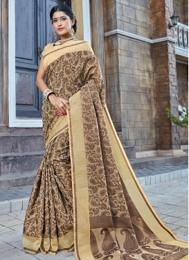 Beige and Brown Thread Work Traditional Saree
