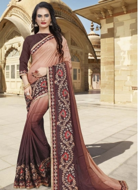 Beige and Coffee Brown Art Silk Traditional Designer Saree
