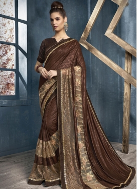 Beige and Coffee Brown Beads Work Designer Contemporary Saree