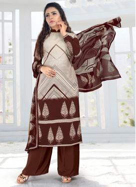 Beige and Coffee Brown Crepe Silk Palazzo Style Pakistani Salwar Suit