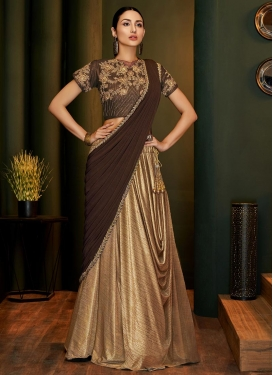 Beige and Coffee Brown Embroidered Work Designer Contemporary Saree