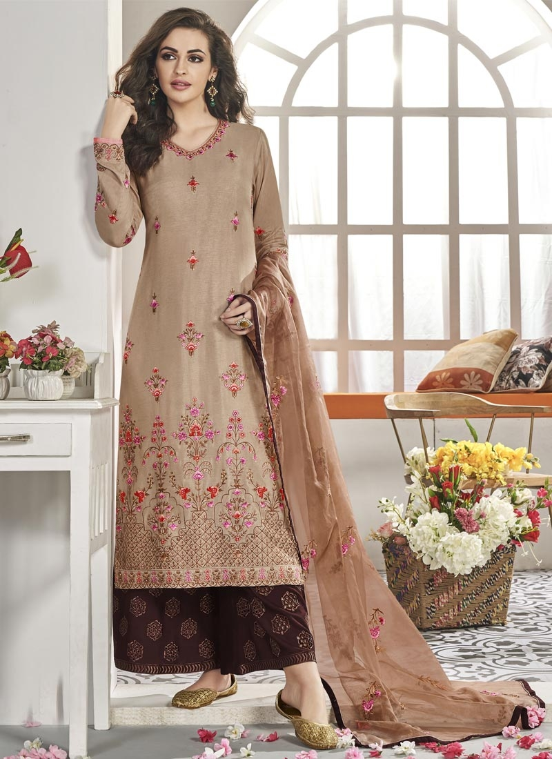 Beige and Coffee Brown Maslin Readymade Designer Suit