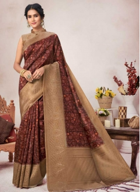 Beige and Coffee Brown Woven Work Designer Contemporary Style Saree