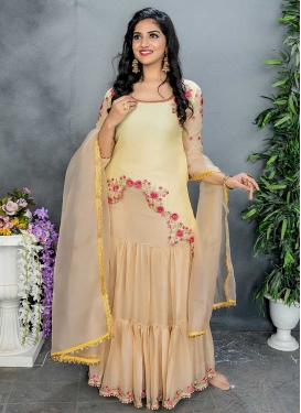 Beige and Cream Beads Work Kameez Style Lehenga Choli