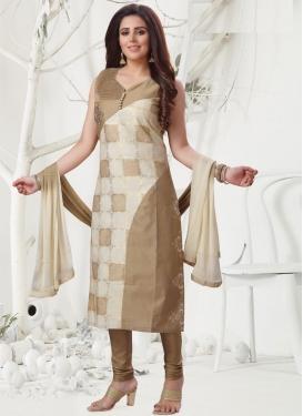 Beige and Cream Embroidered Work Readymade Salwar Kameez