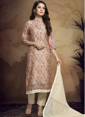 Beige and Cream Pant Style Pakistani Salwar Kameez