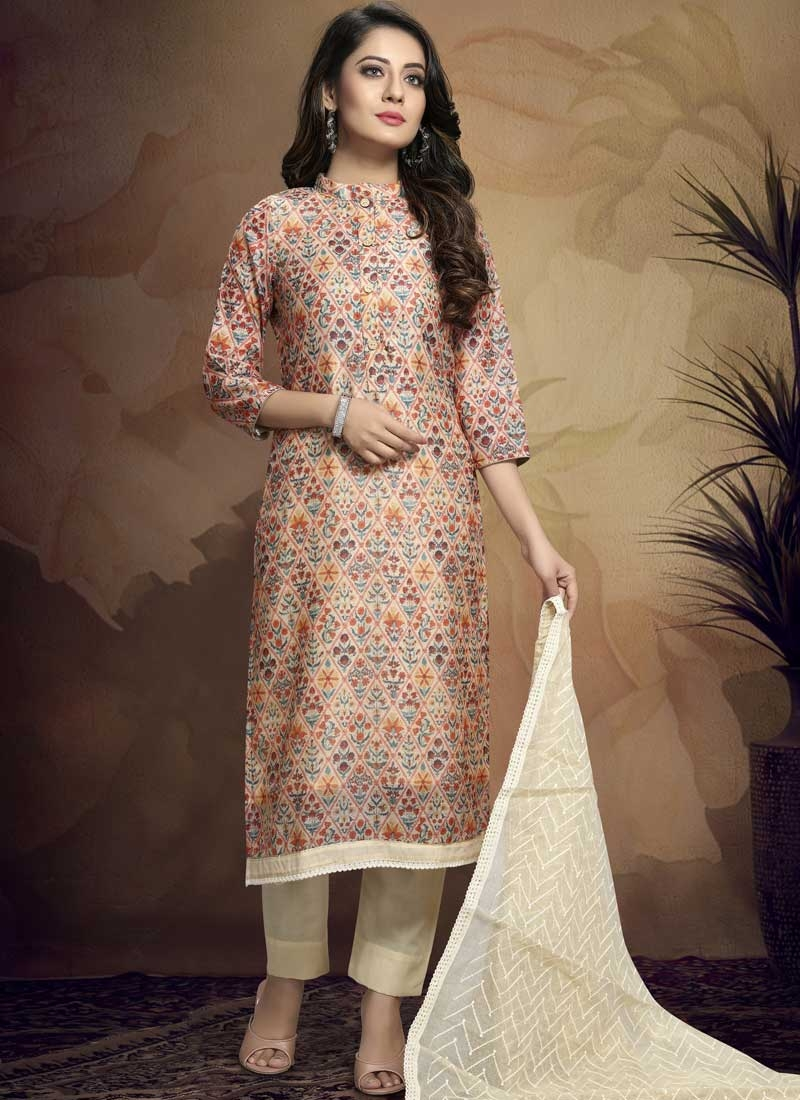 Beige and Cream Pant Style Pakistani Salwar Kameez