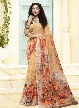Beige and Cream Traditional Designer Saree