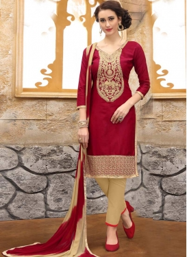 Beige and Crimson Pant Style Suit For Festival