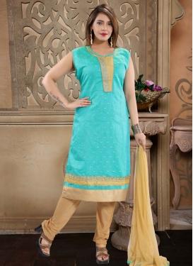 Beige and Firozi Chanderi Silk Readymade Churidar Salwar Suit