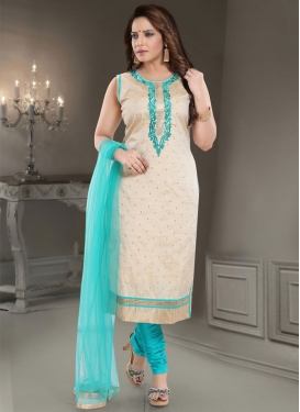 Beige and Firozi Readymade Churidar Salwar Kameez