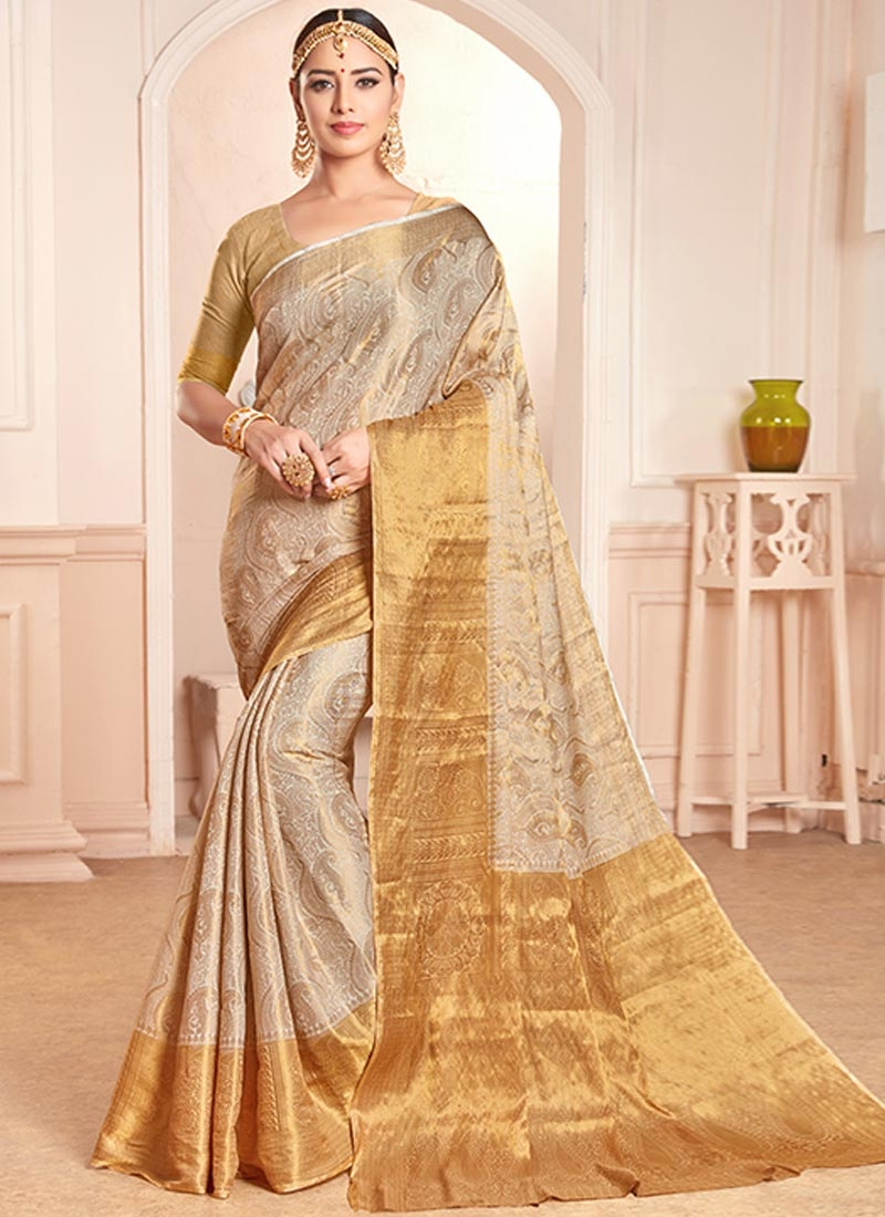 Beige and Gold Traditional Designer Saree For Ceremonial