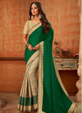Beige and Green Embroidered Work Art Silk Half N Half Trendy Saree