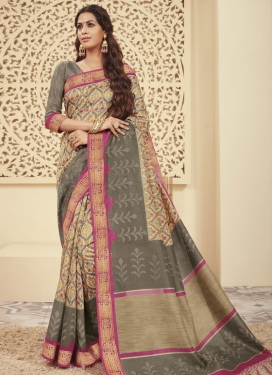 Beige and Grey Bhagalpuri Silk Designer Traditional Saree
