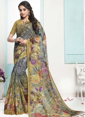 Beige and Grey Cotton Designer Contemporary Saree