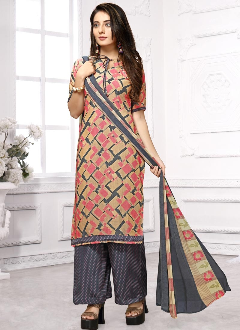 Beige and Grey Crepe Silk Palazzo Style Pakistani Salwar Kameez