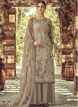 Beige and Grey Digital Print Work Palazzo Style Pakistani Salwar Suit