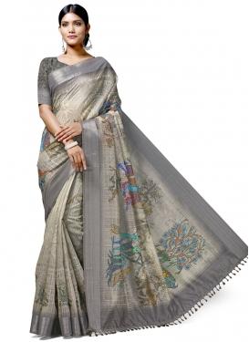 Beige and Grey Linen Trendy Classic Saree