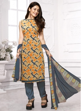 Beige and Grey Pant Style Classic Salwar Suit